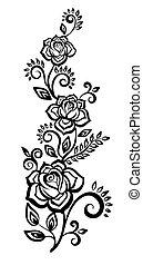 zwart-wit, bloemen, en, leaves.