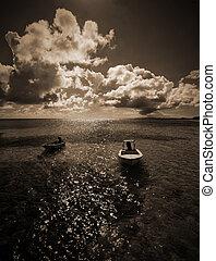 zwart wit, bootjes, in, de, bahamas