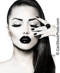 zwart wit, brunette, meisje, portrait., modieus, kaviaar,...