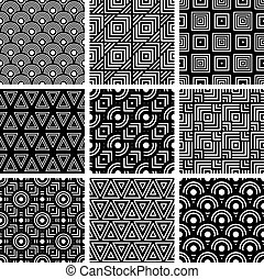 zwart wit, geometrisch, seamless, motieven, set, vector, backgrou