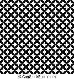 zwart wit, interconnected, cirkels, tegels, model, herhalen,...