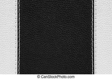 zwart wit, leder, textuur, met, steken