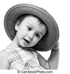 zwart-wit, verticaal, van, klein meisje, met, stro hoed