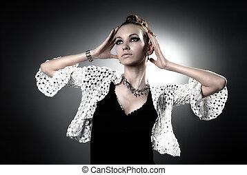 zwart wit, verticaal, van, mooi, glamour, vrouw, in, studio