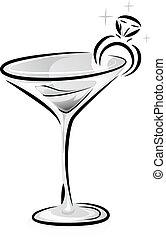 zwart wit, wijn glas, ring