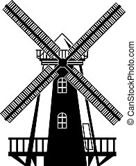 zwart wit, wind molen