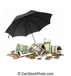 zwarte achtergrond, amerikaan, witte , behoed, op, geld, paraplu