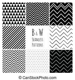 zwarte achtergrond, geometrisch, witte , set., seamless