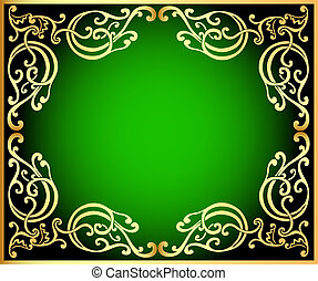 zwarte achtergrond, gold(en), groene, ornament