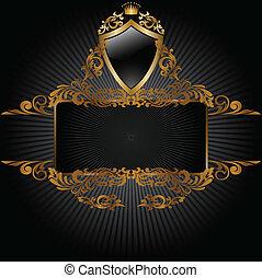zwarte achtergrond, met, koninklijk, symbolen