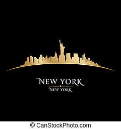 zwarte achtergrond, skyline, stad, york, nieuw, silhouette