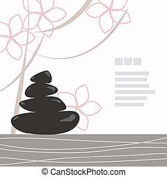 zwarte achtergrond, spa, kiezelsteen, bloemen, verfraaide