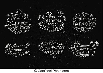 zwarte achtergrond, zomer, set, etiketten