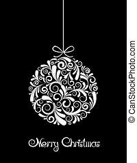 zwarte bal, witte kerst, achtergrond.