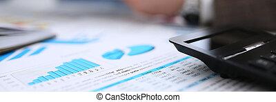 zwarte calculator, en, financieel, statistiek, op, klembord,...
