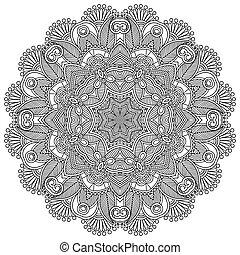 zwarte cirkel, witte , ornament, kant