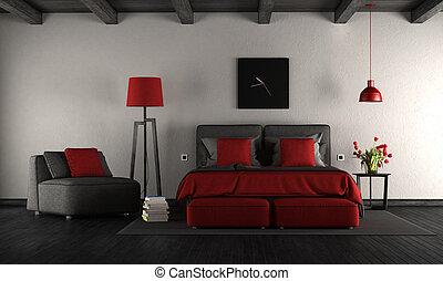 Slaapkamer Zwart Rood : Moderne zwart rood slaapkamer vloer muur moderne