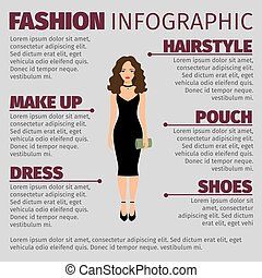 zwarte jurk, mode, dame, ifnographic