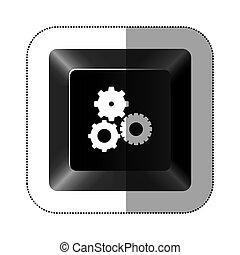 zwarte knoop, tandwiel, pictogram