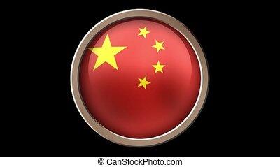 zwarte knoop, vlag, vrijstaand, china