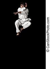 zwarte man, jonge, hoog, karate, achtergrond., contrast, sprong, vechter