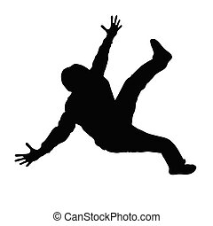 zwarte man, silhouette, dancing