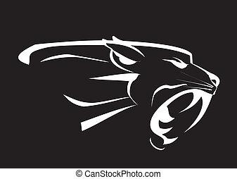 zwarte panther, hoofd, gebrul