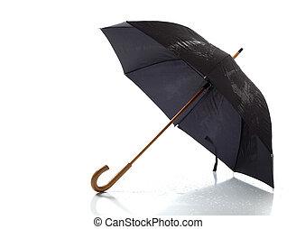 zwarte paraplu, op, een, witte achtergrond
