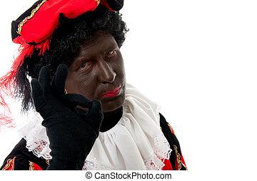 Zwarte piet ( black pete) typical Dutch character part of a...