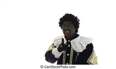 Zwarte Piet is acting funny on a white background