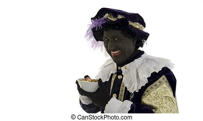 Zwarte Piet is eating gingernuts on a white background, 2x...