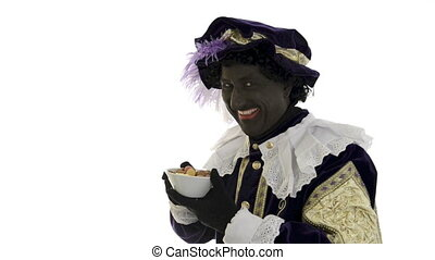 Zwarte Piet is eating gingernuts on a white background