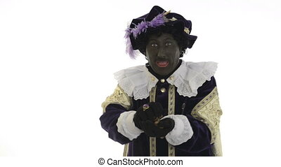 Zwarte Piet is giving gingernuts on a white background