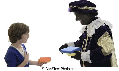 Zwarte Piet is giving presents to a