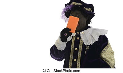 Zwarte Piet is hiding a present on a white background