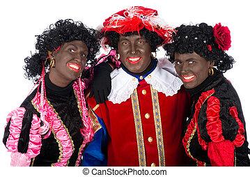 Zwarte Piet is in love, he is two beautiful colleague's