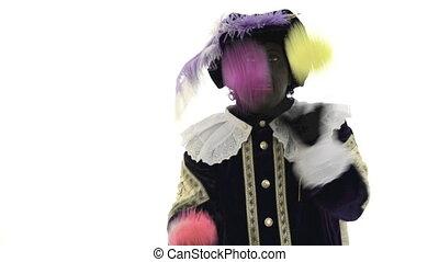 Zwarte Piet is juggling with colored balls
