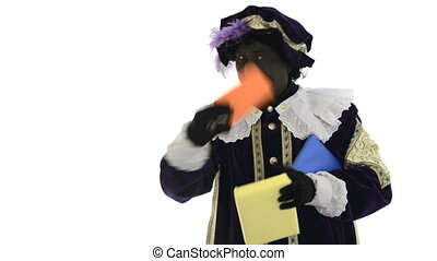 Zwarte Piet is juggling with presents on a white background