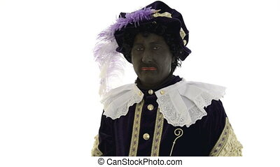 Zwarte Piet is making funny faces on a white background
