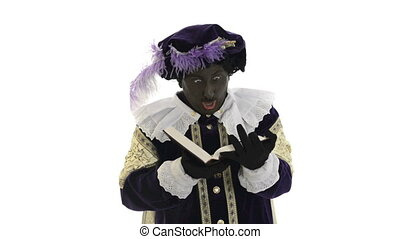 Zwarte Piet is reading in the book