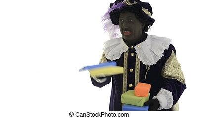 Zwarte Piet is throwing presents on a white background