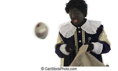 Zwarte Piet is throwing presents