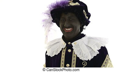 Zwarte Piet is very happy, laughing out loud on a white...