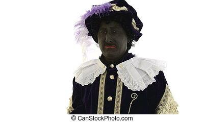 Zwarte Piet is very sad, on a white background