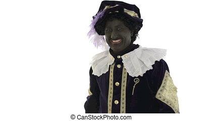 Zwarte Piet is waving goodbye on a white background