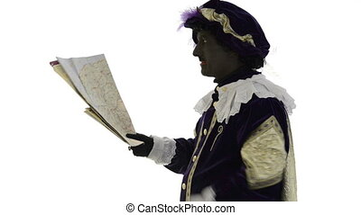 Zwarte Piet searching the route to go, on a white background
