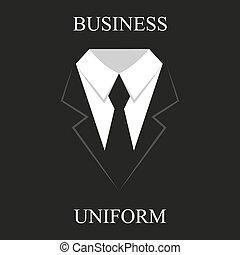 zwarte uniformen, zakelijk, ontwerp, kostuum, plat