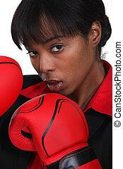zwarte vrouw, met, boxing handschoenen