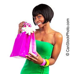 zwarte vrouw, met, winkeltas