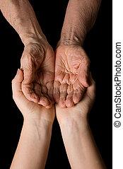 zwarte vrouw, oud, achtergrond, handen